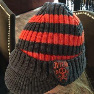 Boys Beanie Hat will Bill Orange/Grey 2-4yr